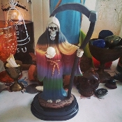 4.5 In. Santa Muerte with Oil-Miracles, Good Luck, Protection