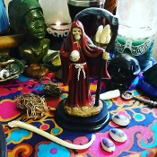 Red Santa Muerte with Oil-Love, Relationships, Power, Sex
