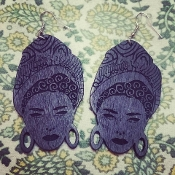 Black Marie Laveau Wood-Burned Earrings