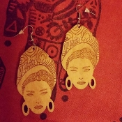 Tan Marie Laveau Wood-Burned Earrings