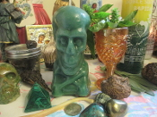 5 Inch Green Skull Candle-Draw Money, Raises, Checks, Clients