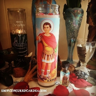 Fixed Saint Expedite Candle with Oil-Expedites Results,Solutions