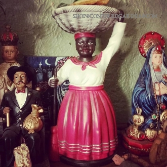 Red Resin La Madama Statue with Oil and Altar Candle