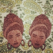 Brown Marie Laveau Wood-Burned Earrings