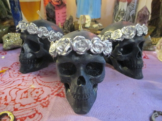 Flower Crown Skull Candle-Samhain, Ancestors, Day of the Dead