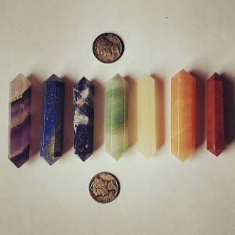 Double Terminated Chakra Gemstone Set-7 Pieces