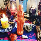 FEMALE-ORANGE Figure Candle-Open Roads, Renewal, Success, Luck
