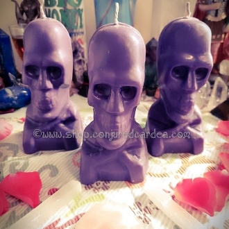 5 In. Purple Skull Candle-Power, Success, Compel, Bend Over Work