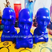 5 In. Blue Skull Candle-Health, Peace, Protection, Calm, Stress